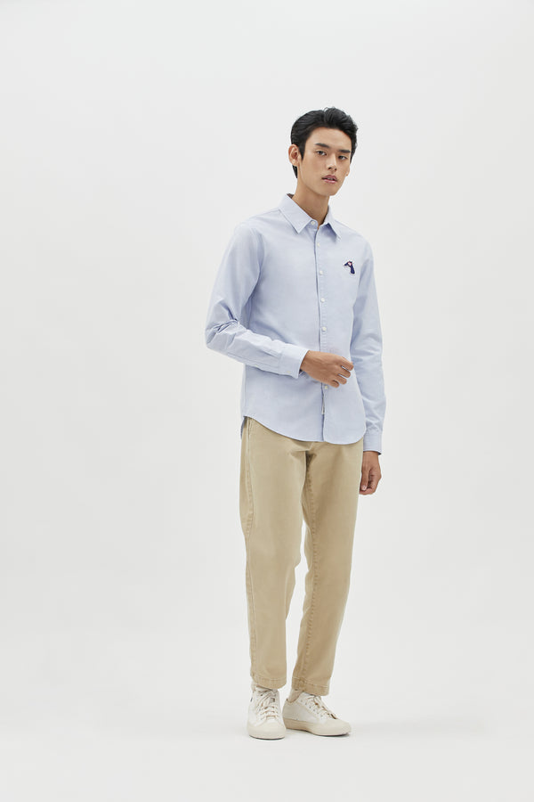 OXFORD SLIM SHIRT WITH LOGO EMBROIDED