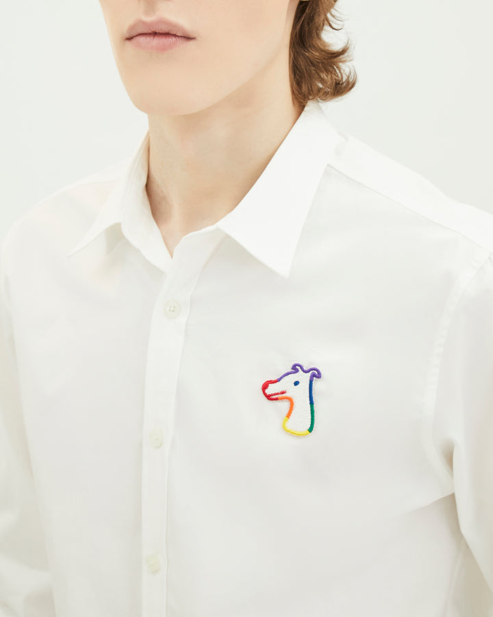 """HOUND"" FOR ALL POPLIN SLIM SHIRT WITH LOGO EMBROIDED"