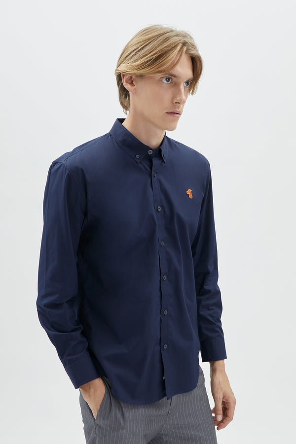 POPLIN REGULAR SHIRT WITH LOGO EMBROIDED