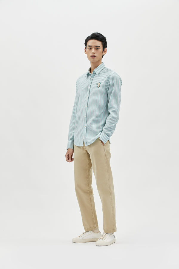 STRIPED OXFORD SLIM SHIRT WITH LOGO EMBROIDED