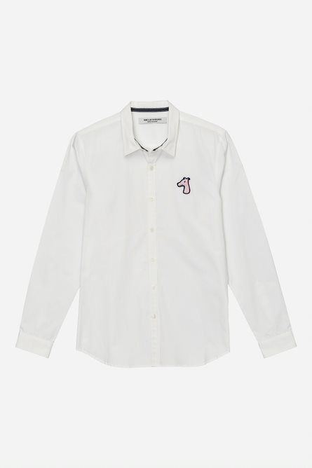 Load image into Gallery viewer, POPLIN SLIM FIT SHIRT WITH LOGO EMBROIDERED (S20MD01273WH1B)