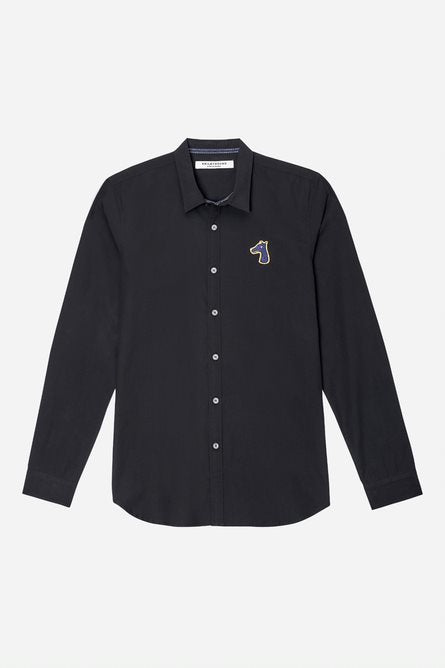 POPLIN SLIM FIT SHIRT WITH LOGO EMBROIDERED (S20MD01273BK1B)