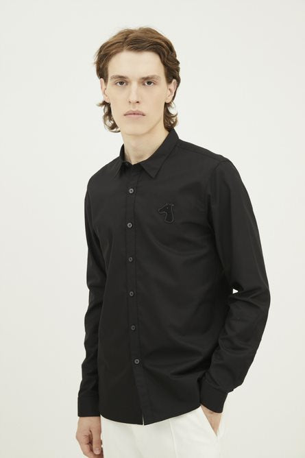 Load image into Gallery viewer, SLIM FIT SHIRT WITH LOGO EMBROIDERED (S20MD01303BK1B)