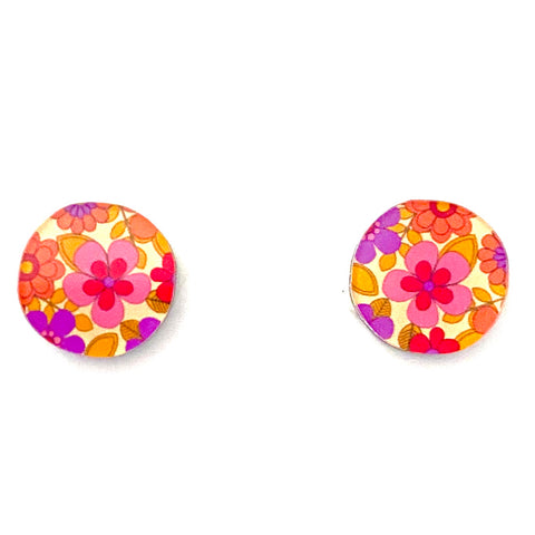 pink and yellow floral retro resin studs