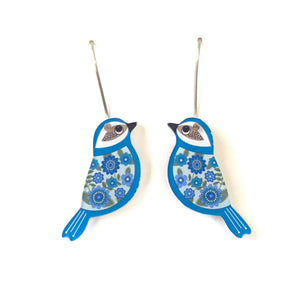 mini blue bird earrings