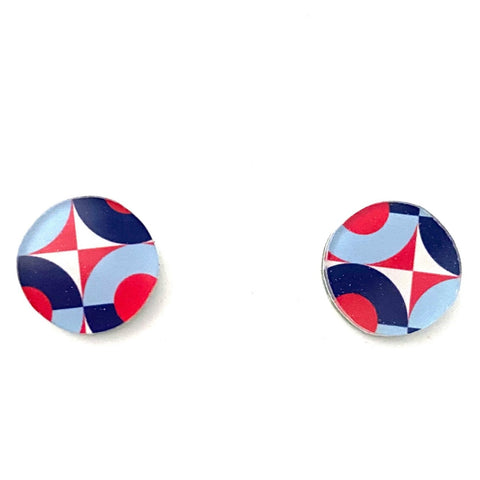 red and blue retro geometric pattern stud earrings