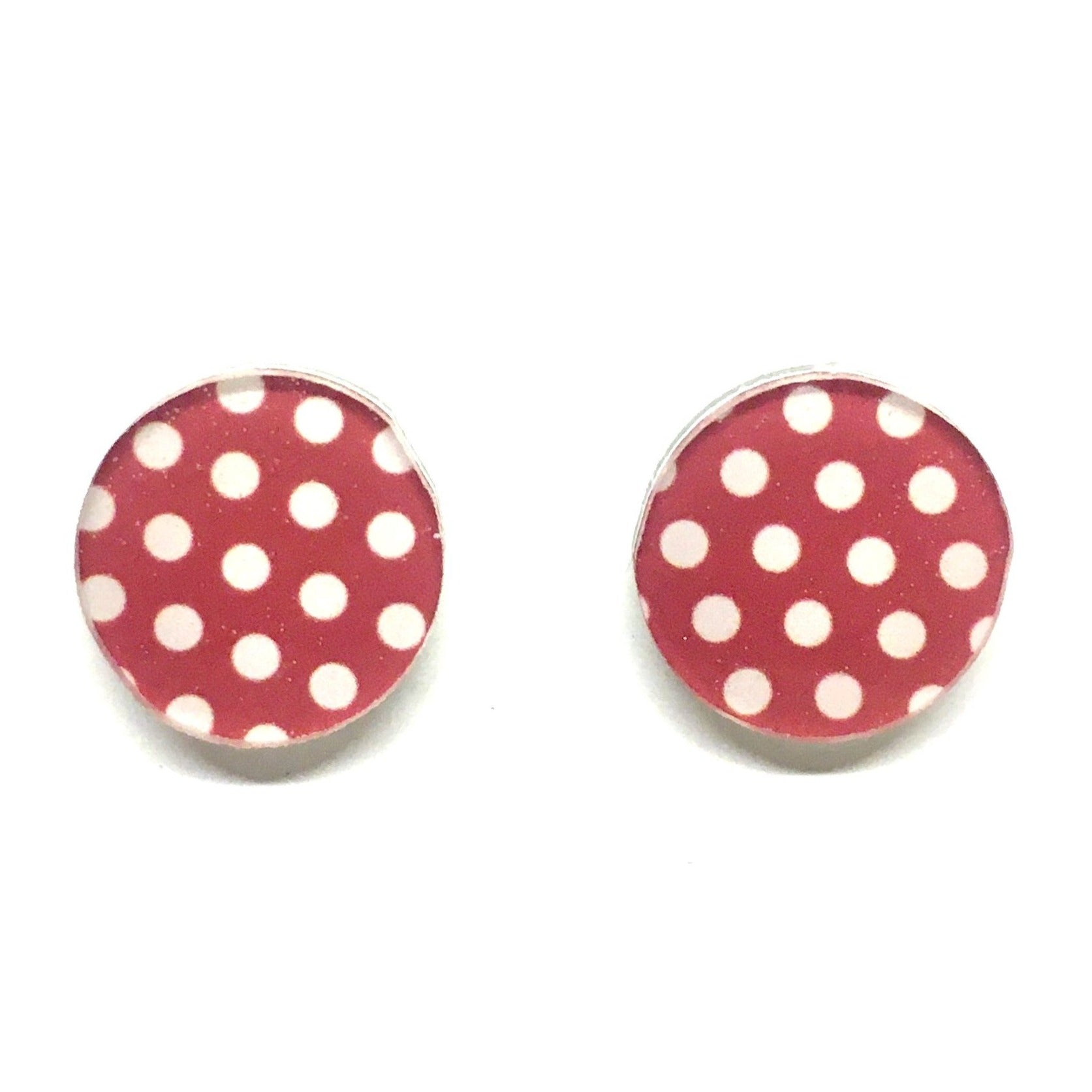 red and white polkadot stud earrings