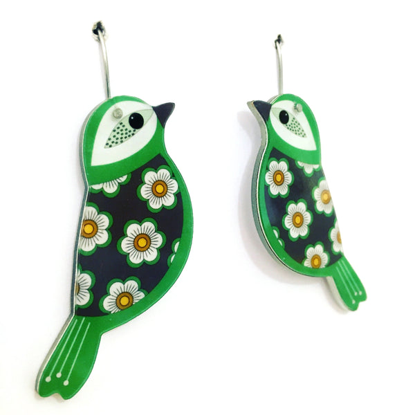 green bird earrings side view
