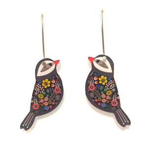 mini black bird earrings