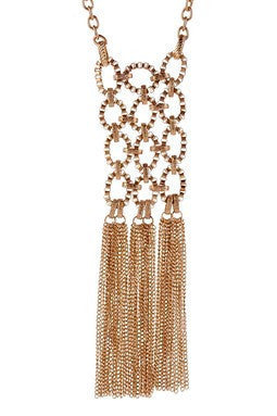 classic gold toned necklace with circular links and chain tassel drop