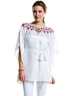 Indian Summer Short Caftan-White