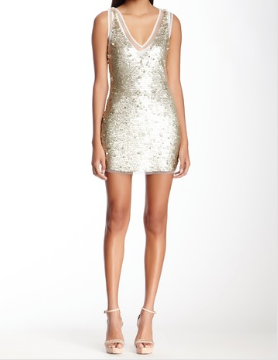 Shakira Sequin Net Tank Dress-Gold
