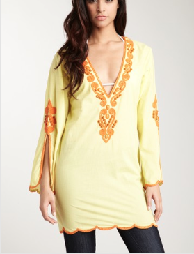 Hippie Beach Shirt Dress-Yellow