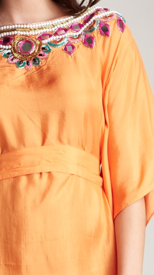 Indian Summer Short Caftan-Orange