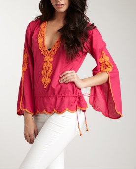 Hippie Beach Short Tunic-Fushia/Orange