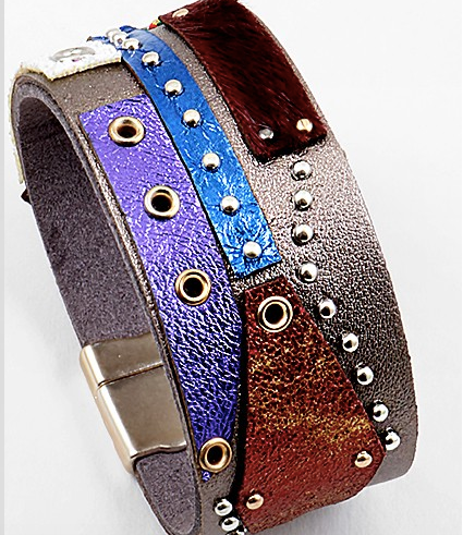 Patchwork Metallic Leather Cuff