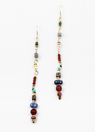 Multi Beaded Line Drop Earring