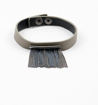 Metal Fringe Leather Bracelet