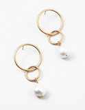 Double Circle Pearl Drop Earring
