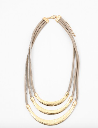Triple Geometric Layered Leather Necklace