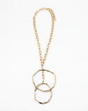 Geometric Double Ring Metal Necklace