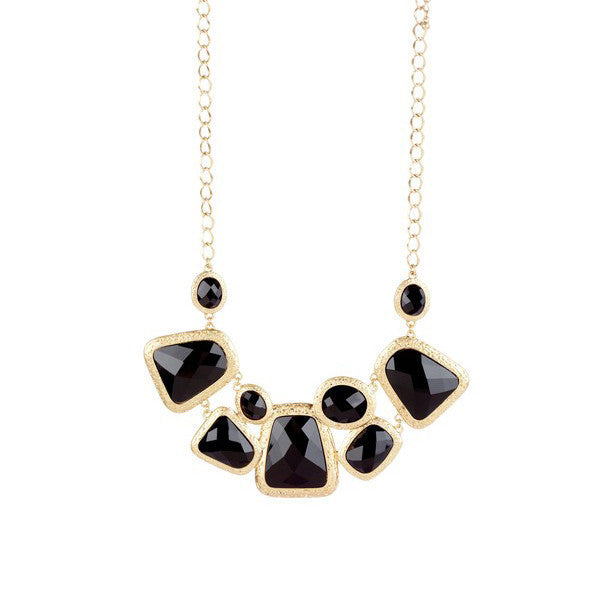 Gold-tone textured bezel set faceted resin bib necklace