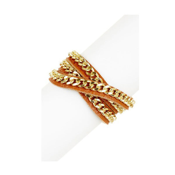 Gold-tone chain and brown leather wrap bracelet