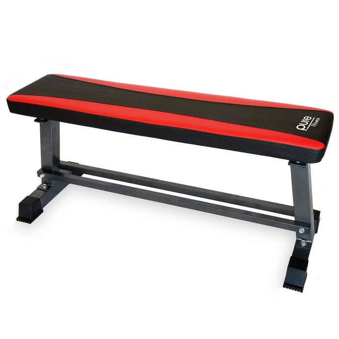 Pure Fitness Flat Bench with Dumbbell Rack