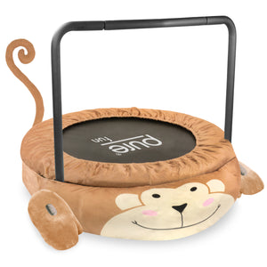 Pure Fun 36-inch Monkey Plush Jumper Kids Trampoline with Handrail, Pillow and Slippers