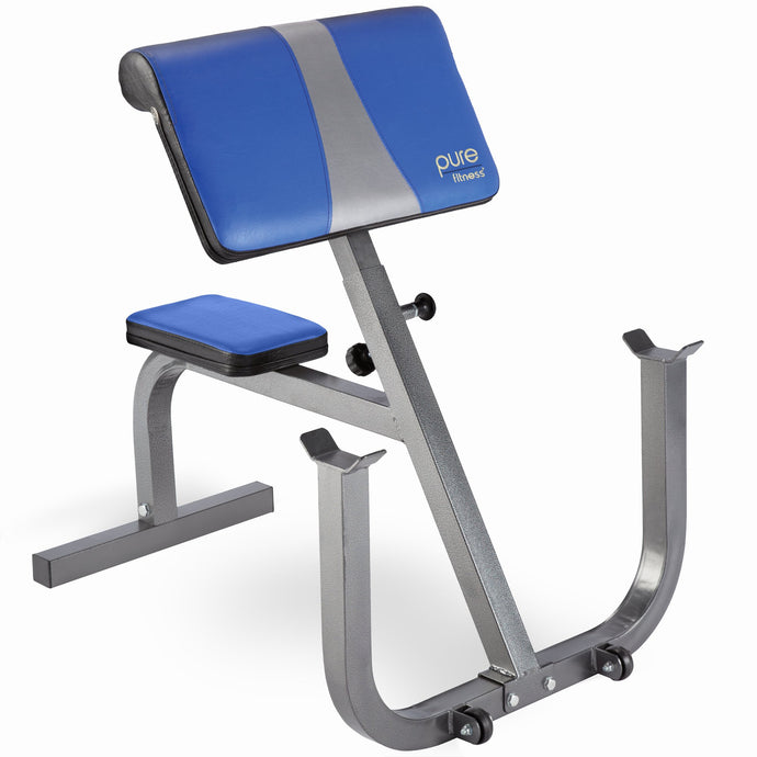 Pure Fitness Portable Preacher Curl Bench, Weight Bench - Pure Fun