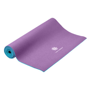 Reversible Yoga Mat, PVC, 6mm, Amethyst and Blue - Pure Fun