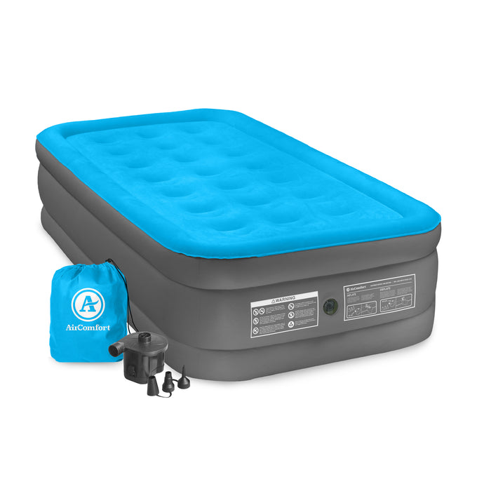 Air Comfort Camp Mate Raised Air Mattress with External Battery Pump - Twin - Pure Fun