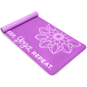 Premium TPE EkoSmart Yoga Mat, 4mm, Yoga Repeat - Pure Fun