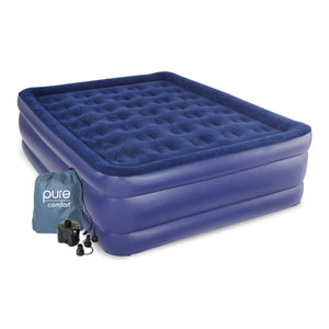 Pure Comfort Raised Air Mattress with External Battery Pump - Queen - Pure Fun
