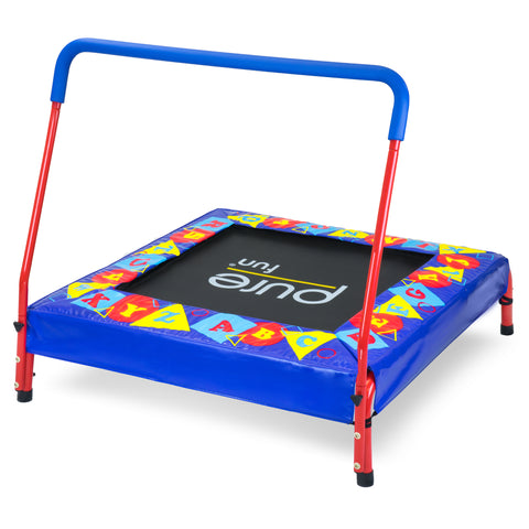 Kids Trampoline with Handrail, Preschool Jumper, Spring Free, 36-inch - Pure Fun