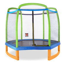 Load image into Gallery viewer, Pure Fun 7-Foot Kids Trampoline with Enclosure and Tic Tac Toe - Pure Fun