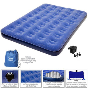 Pure Comfort Full Size 9-inch Air Mattress with External Battery Pump