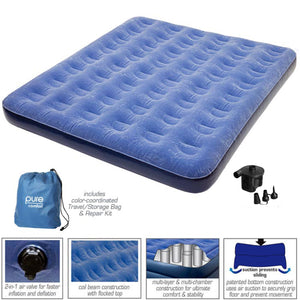 Pure Comfort Queen Size 9-inch Air Mattress with External Battery Pump