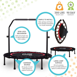 Pure Fun 40-inch Exercise Trampoline with Adjustable Handrail 9003MTH Infographic