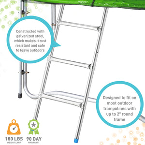 Pure Fun 3 Step Steel Universal Trampoline Ladder