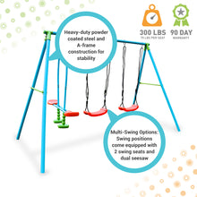 Load image into Gallery viewer, Pure Fun 4-Station Play-Zone Metal Swing Set