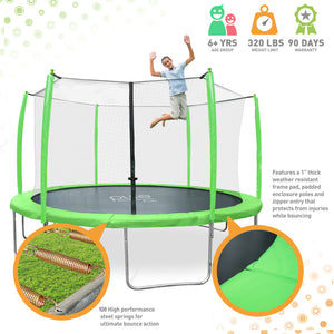 Pure Fun Supa-Bounce 15-Foot Trampoline with Safety Enclosure