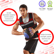 Load image into Gallery viewer, Pure Fitness Adjustable Weighted Vest, 40-pound