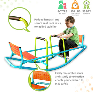 Pure Fun Dual Rocker Kids Seesaw, Indoor or Outdoor - Pure Fun