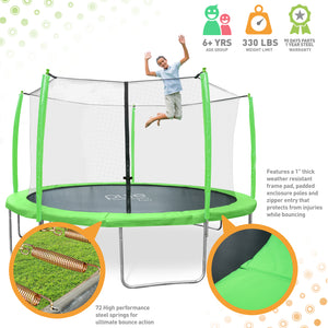 Pure Fun Supa-Bounce 12-Foot Trampoline with Safety Enclosure
