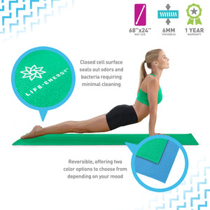 Life Energy Reversible Yoga Mat, PVC, 6mm, Emerald and Blue - Pure Fun