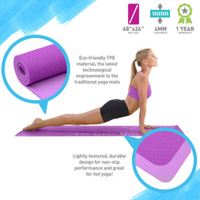 Load image into Gallery viewer, Life Energy 4mm Premium TPE EkoSmart Yoga Mat - Yoga Repeat - Pure Fun