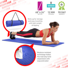 Load image into Gallery viewer, Pure Fitness 1/2 inch Ultra Thick NBR Exercise Mat with Carry Strap - Pure Fun