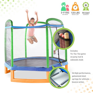 Pure Fun 7-Foot Kids Trampoline with Enclosure and Tic Tac Toe - Pure Fun