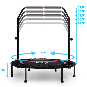 Pure Fun 40-inch Exercise Trampoline with Adjustable Handrail 9003MTH Dimensions